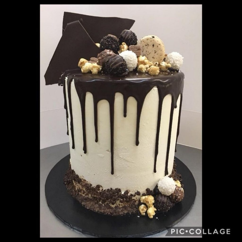 buttercream and dark chocolate ganache drip