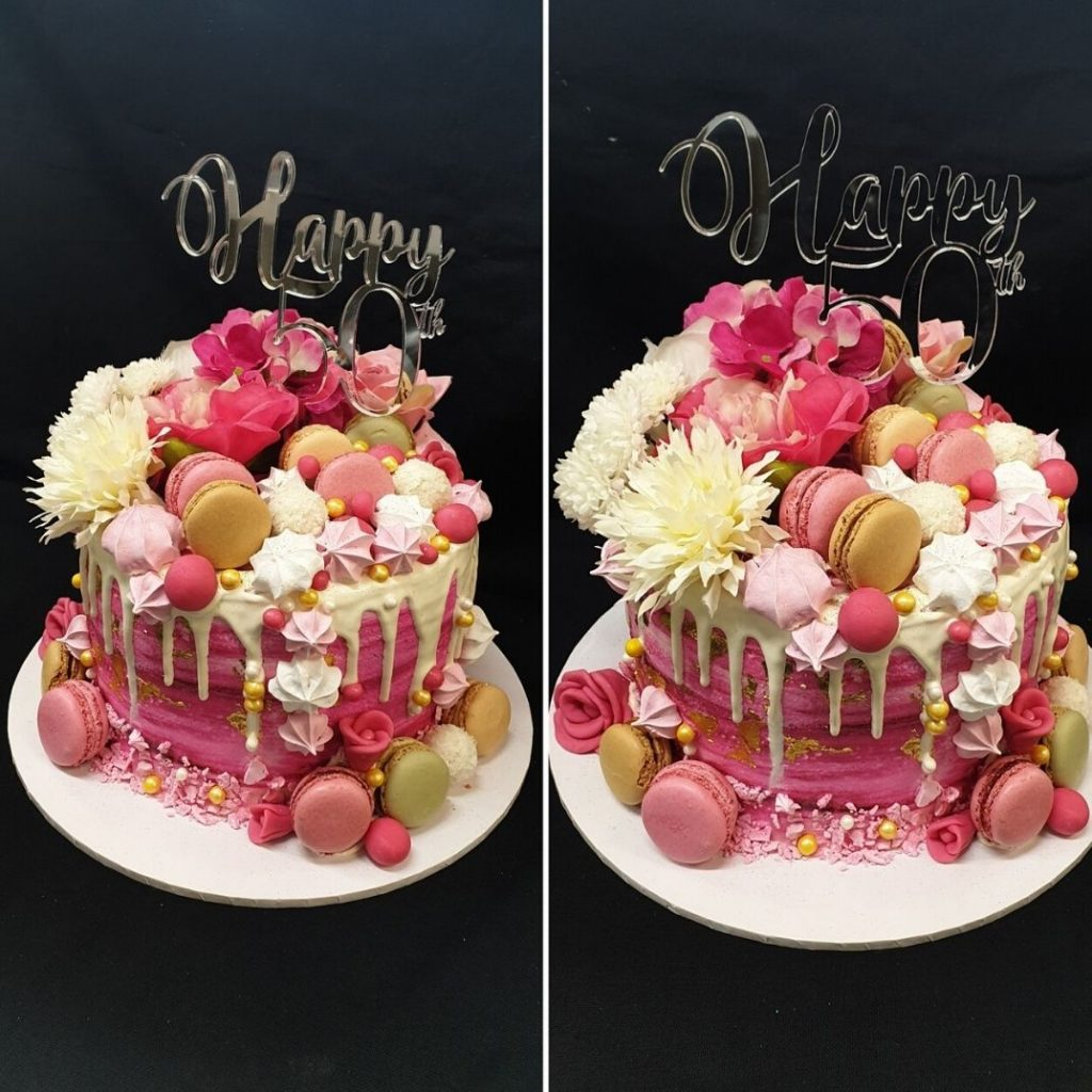 custom cakes with white chocolate drip