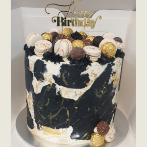 birthday cakes with gold leaf