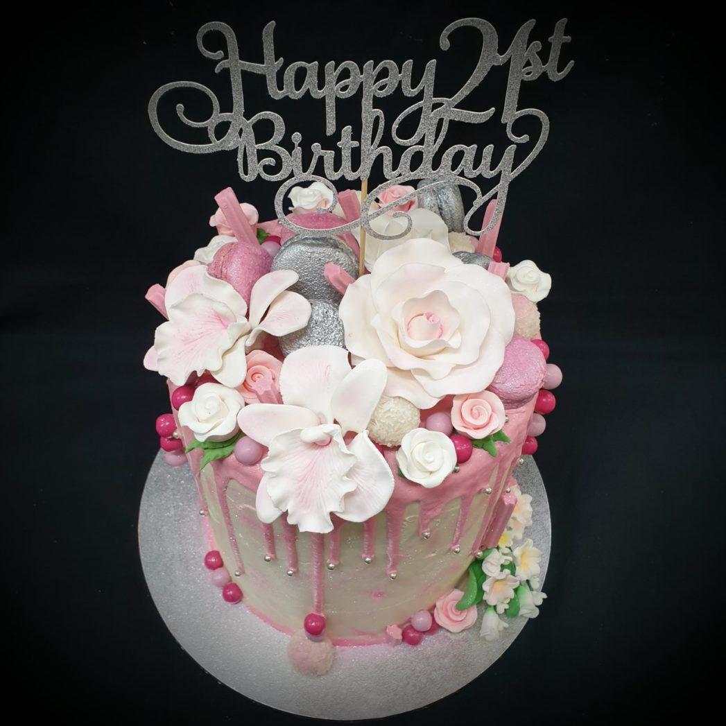21st pink drip cake